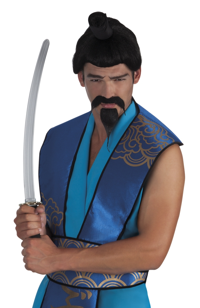 Snor en baard Samurai zwart