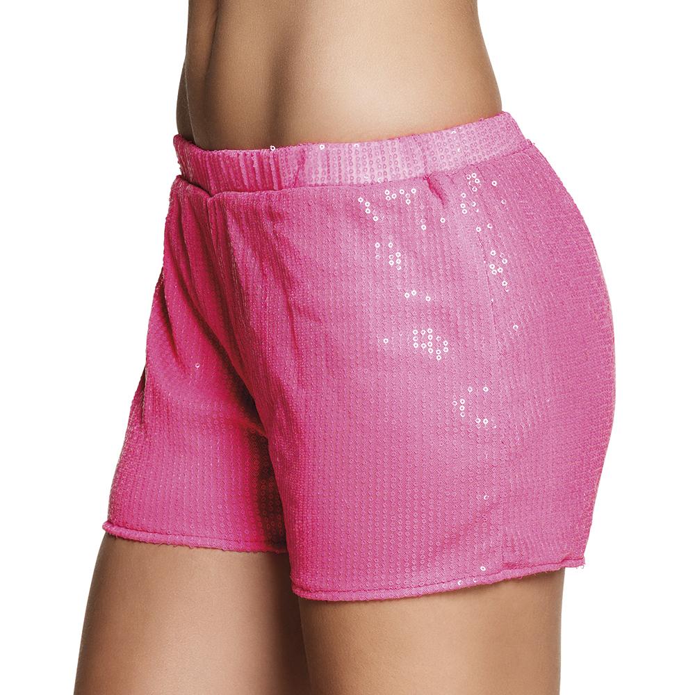 Hotpants sequins neon roze (M)