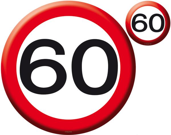 Verkeersbord placemat en onderzetters 60 jaar