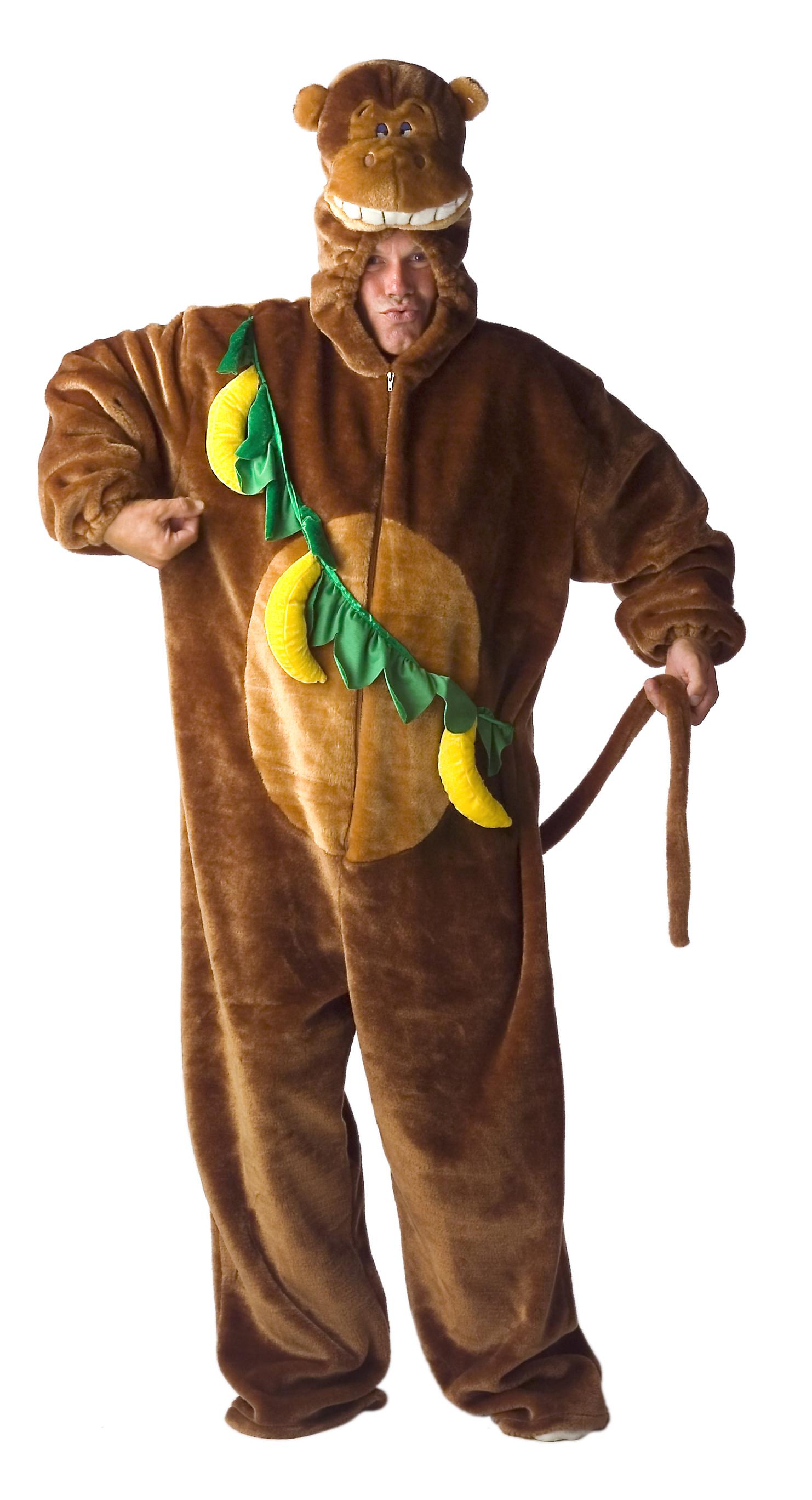 Aap kostuum pluche voor volwassenen met bananen