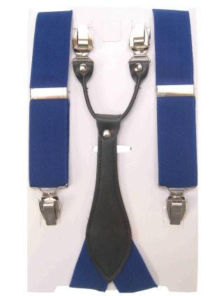 Bretels luxe blauw met leder
