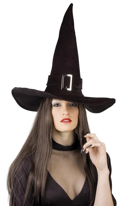 Heksen hoed de luxe zwart