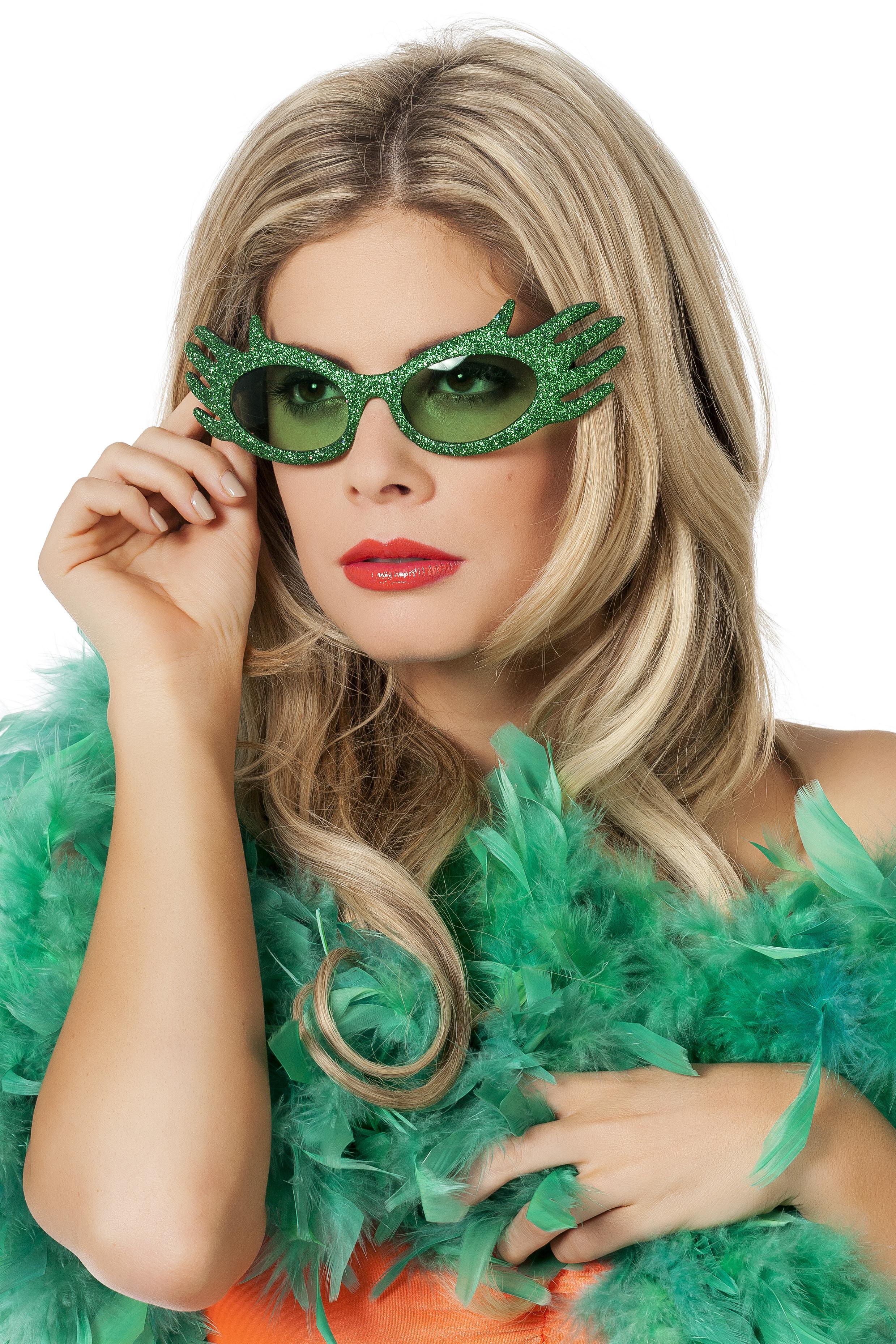 Bril dame edna groen montuur en glitter