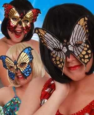 Oogmasker bonte vlinder per stuk diverse kleuren