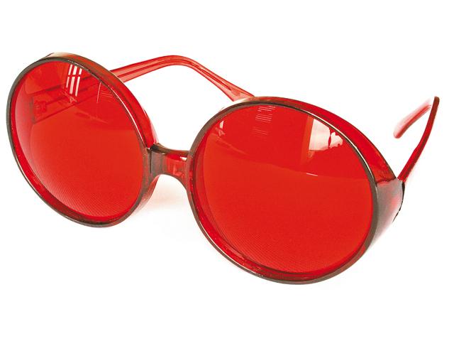 Bril grote ronde glazen rood