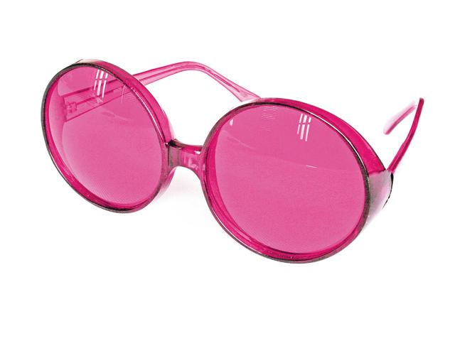 Bril grote ronde glazen neon pink