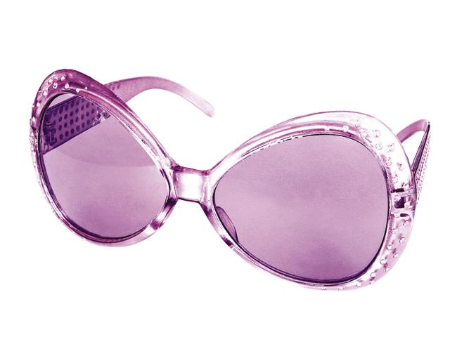 Bril met steentjes paars