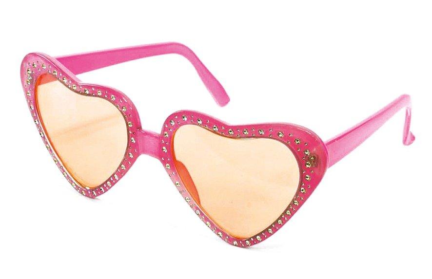 Bril hartjes roze met strass steentjes