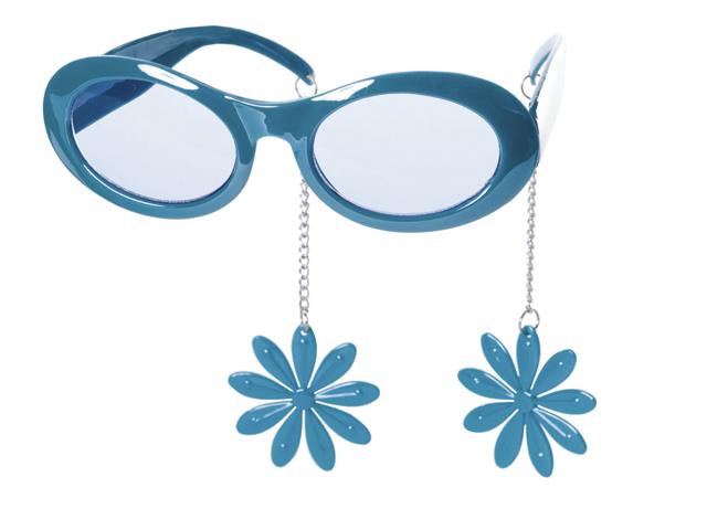 Bril blauw met oorbellen bloem
