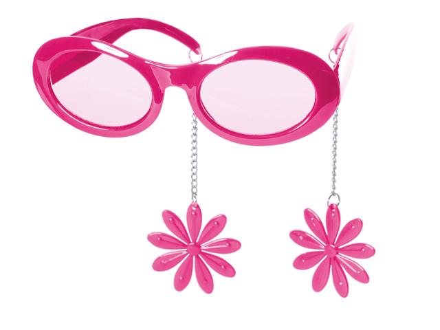 Bril pink met oorbellen bloem
