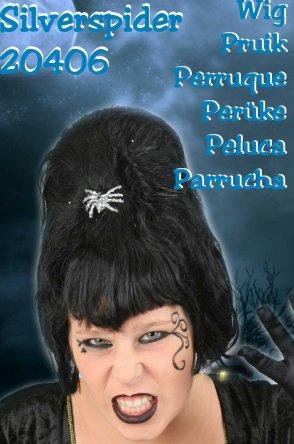 Halloween gothic silverspider pruik