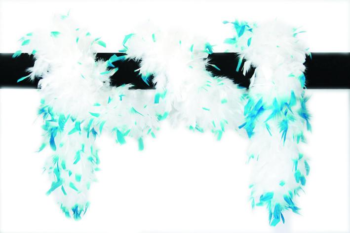 Luxe boa wit met aqua blauwe punten