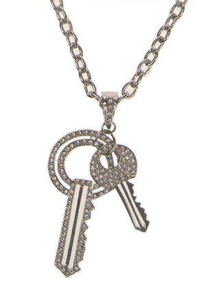Ketting 2 sleutels en strass