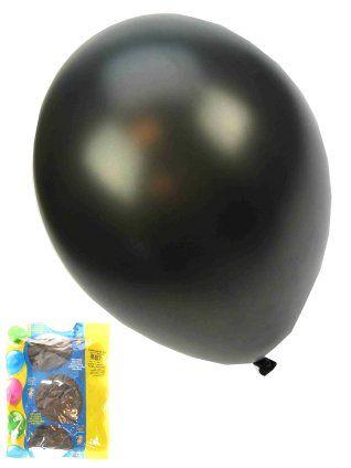 Ballonnen metallic zwart 50 stuks 36cm