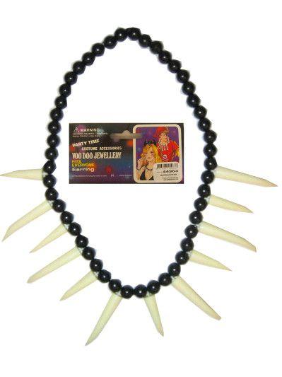 Indianen ketting zwart / wit met tanden