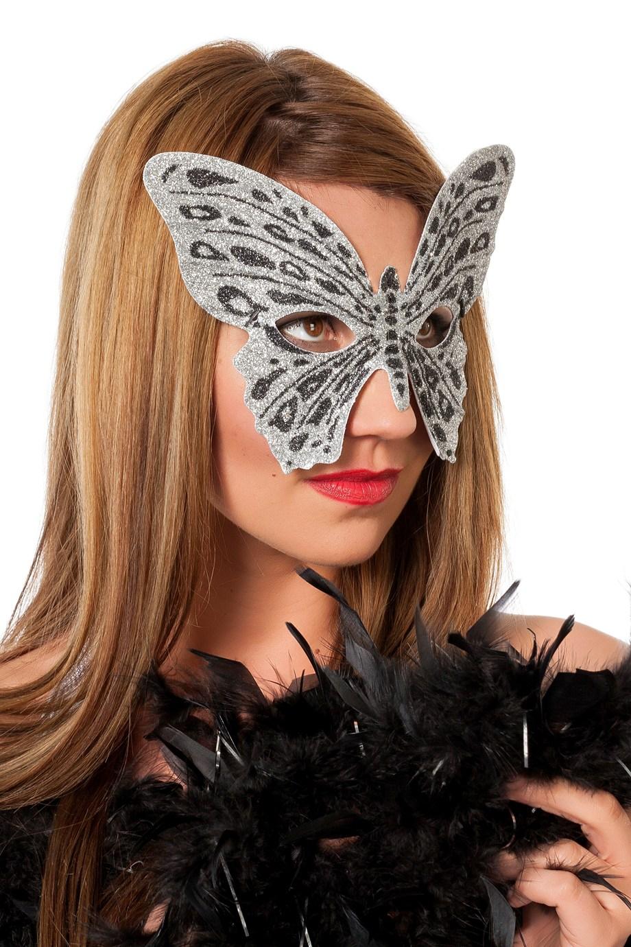 Masker vlinder medium zilver/zwart