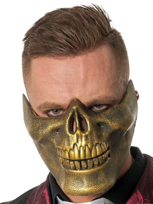 Masker doodskop onderkaak goud