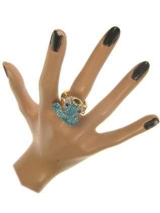 Ring luxe vis strass blauw