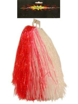 Cheerball met ringgreep rood/wit