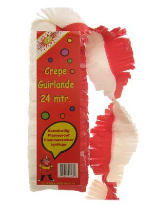 Crepe guirlande rood/wit 24m brandvertragend