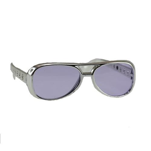 Elvis bril met zilveren montuur per stuk