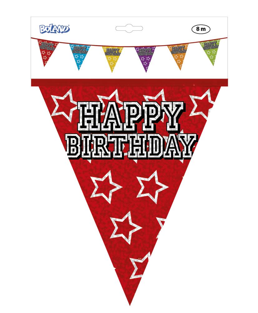 Holo grafische vlaggenlijn Happy Birthday (8 m)