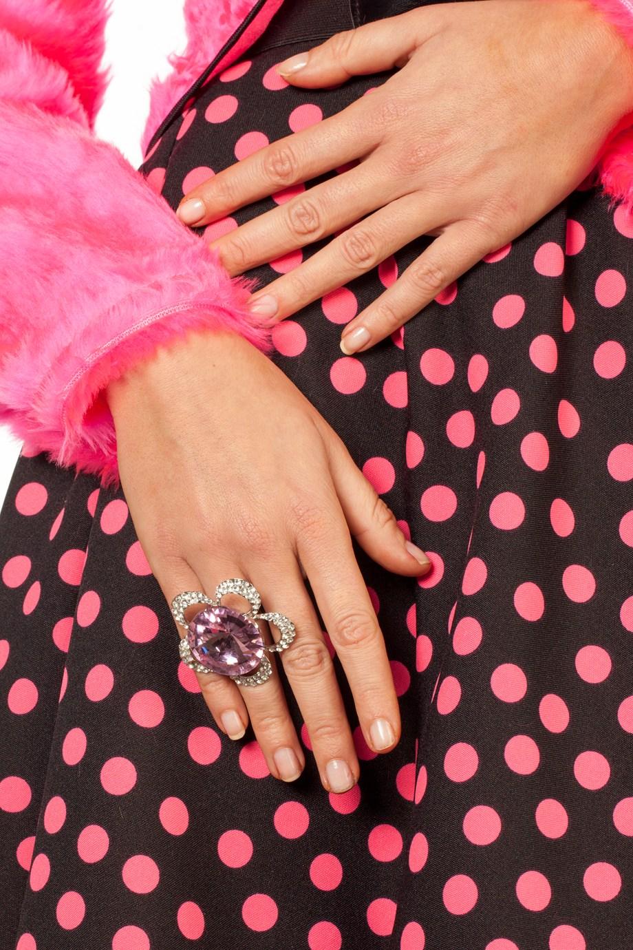 Ring grote steen roze bloem en strass