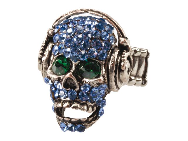Ring doodskop met koptelefoon blauw