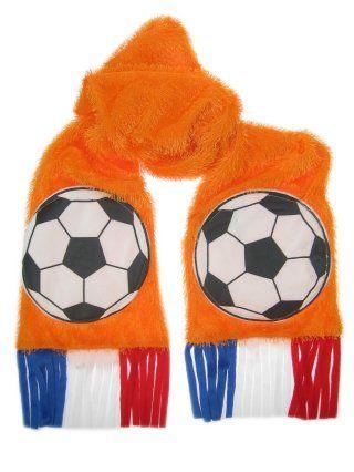 Oranje gras sjaal met voetbalzakken