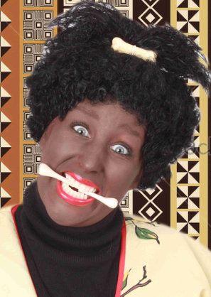 Zwarte afropruik met klein botje