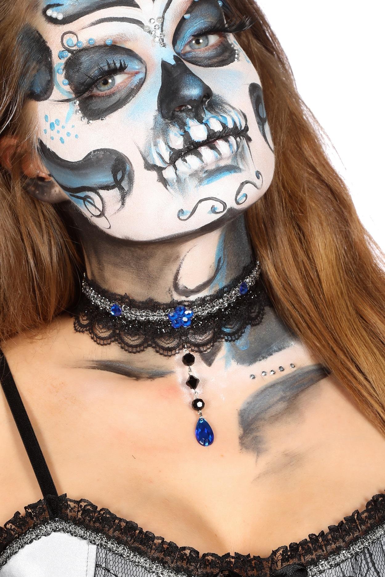 Choker zwart met blauwe stenen