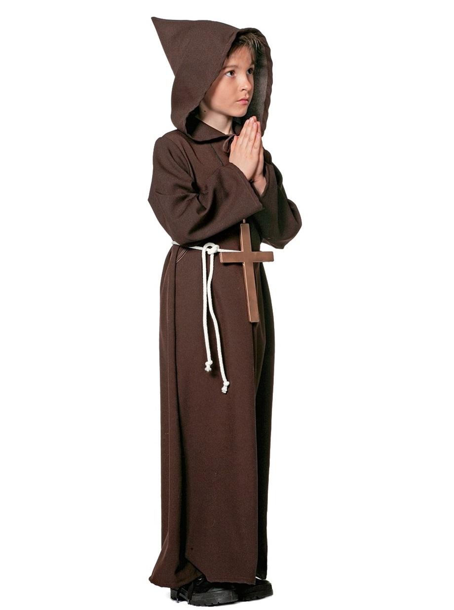 Pater kostuum bruin voor kind