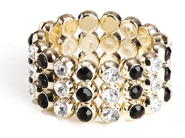 Armband kleine bling zilver/zwart