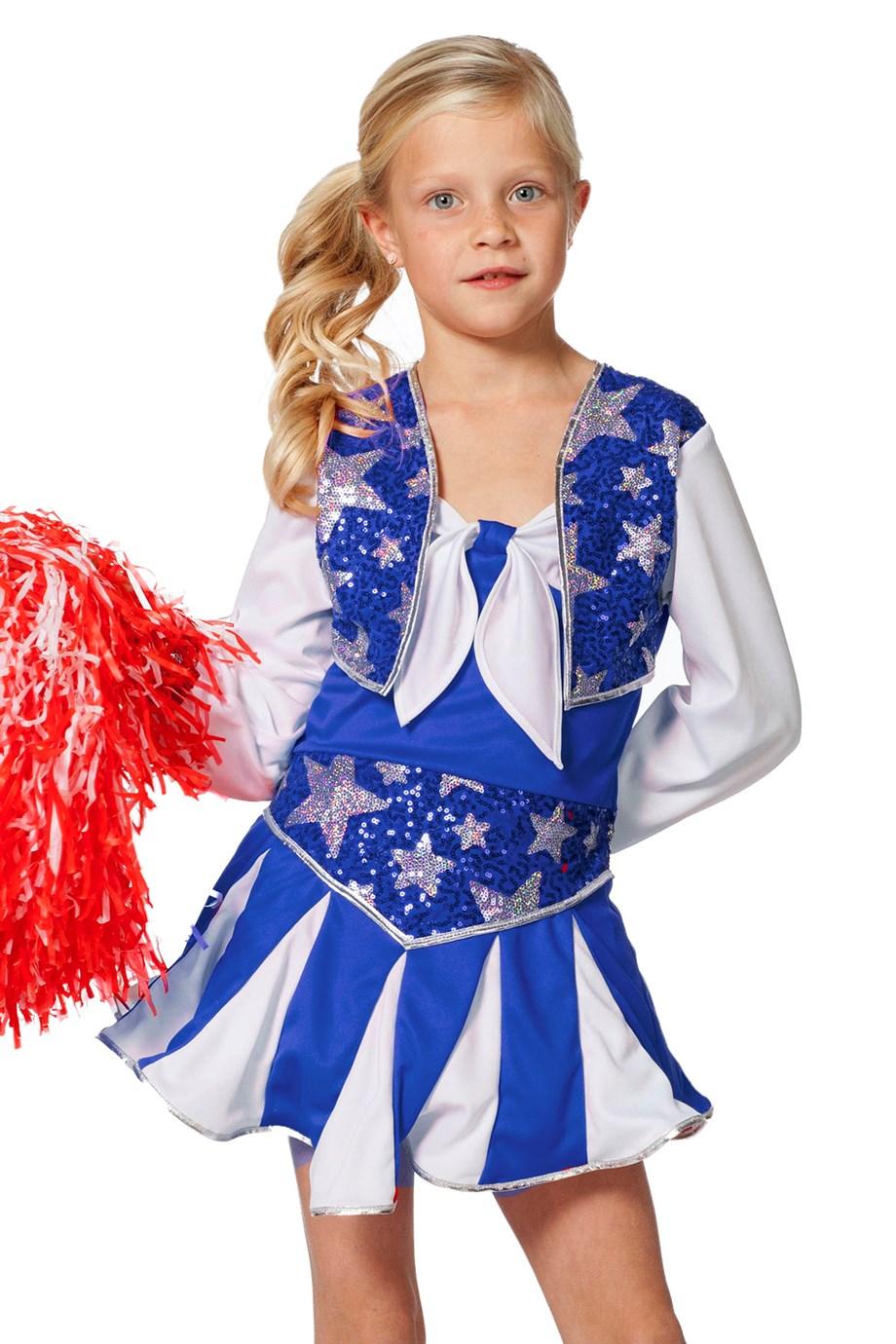 Cheerleader luxe blauw/wit voor meisje