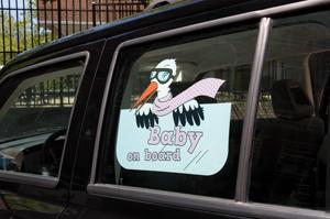Sticker Baby on board roze