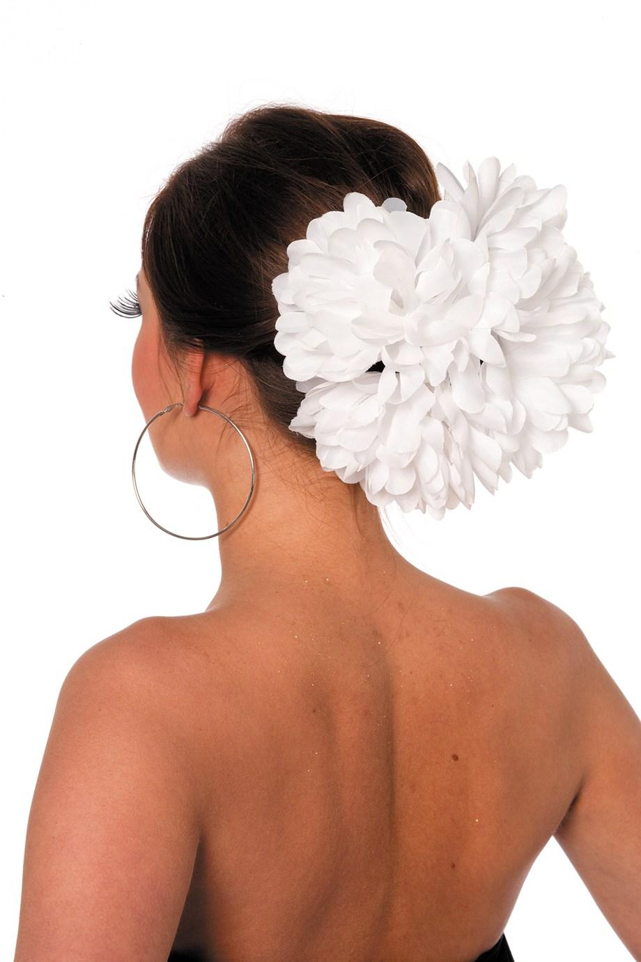 Hawai bloemenclip groot wit