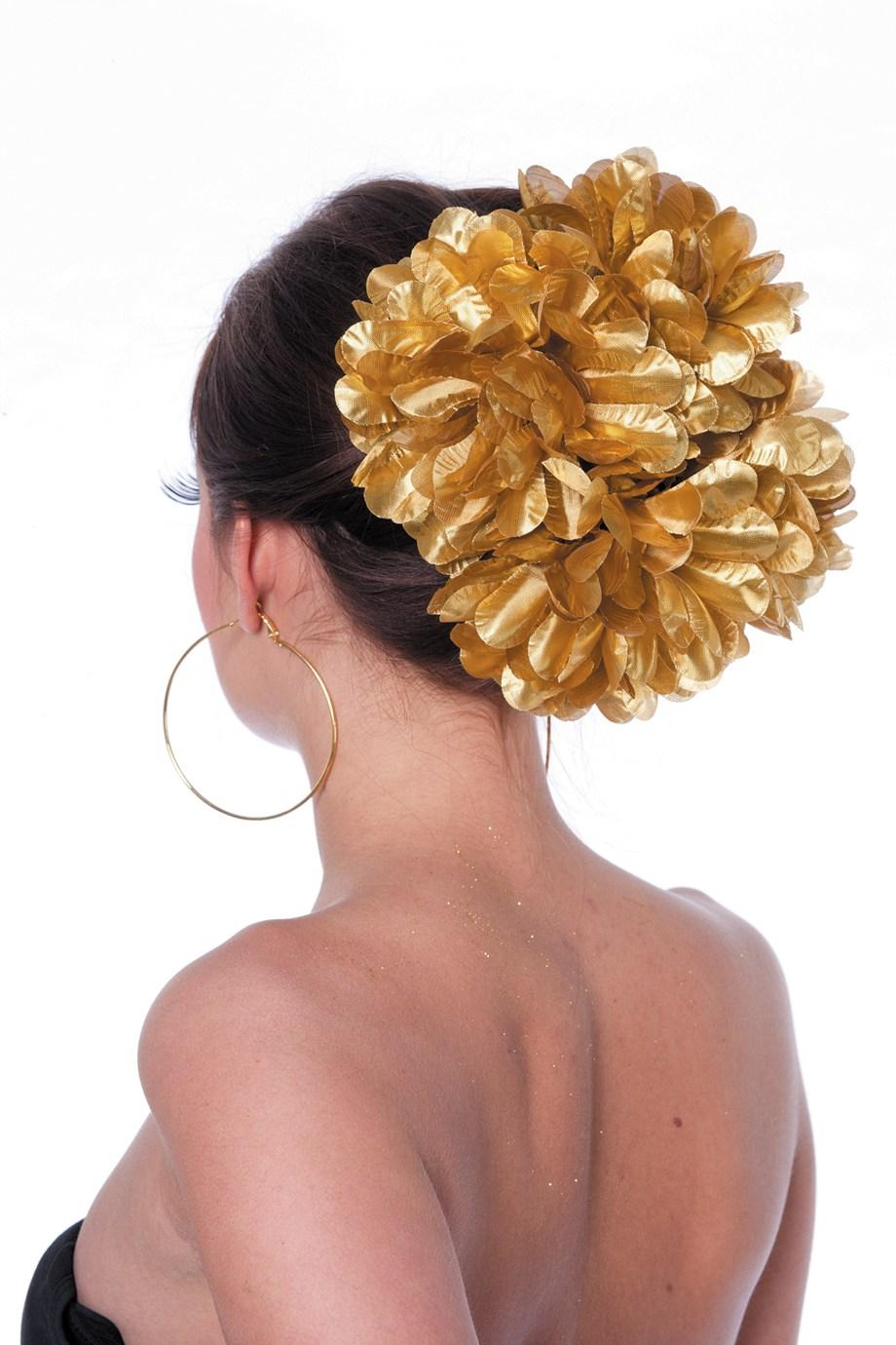 Hawai bloemenclip groot goud