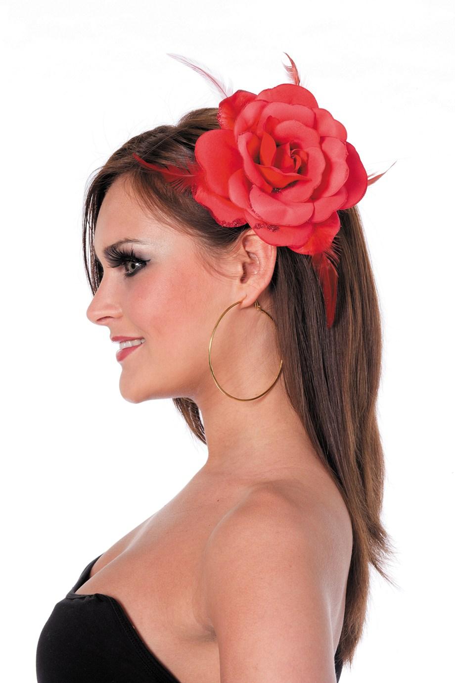 Hawai bloem aan elastiek/broche rood