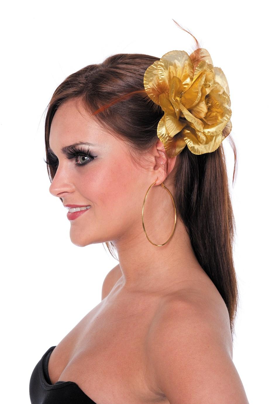 Hawai bloem aan elastiek/broche goud