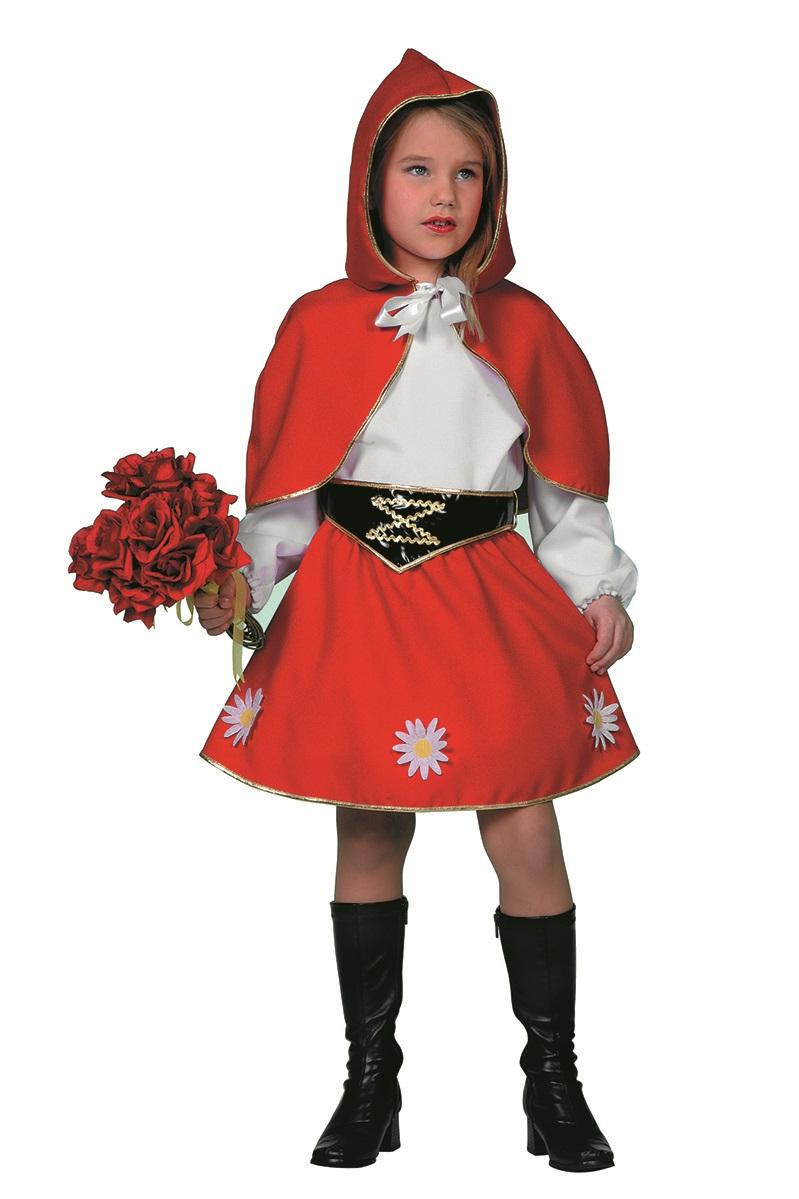 Roodkapje jurk met rode cape voor kind