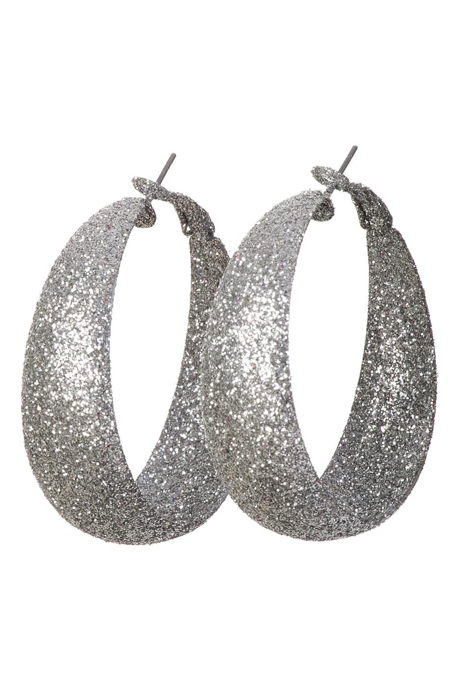 Oorbellen met glitters zilver