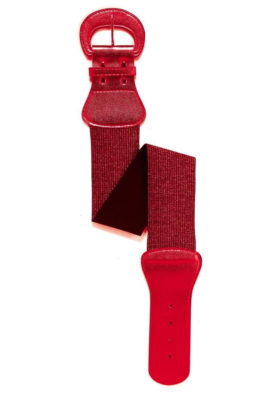 Brede rode riem met grote gesp