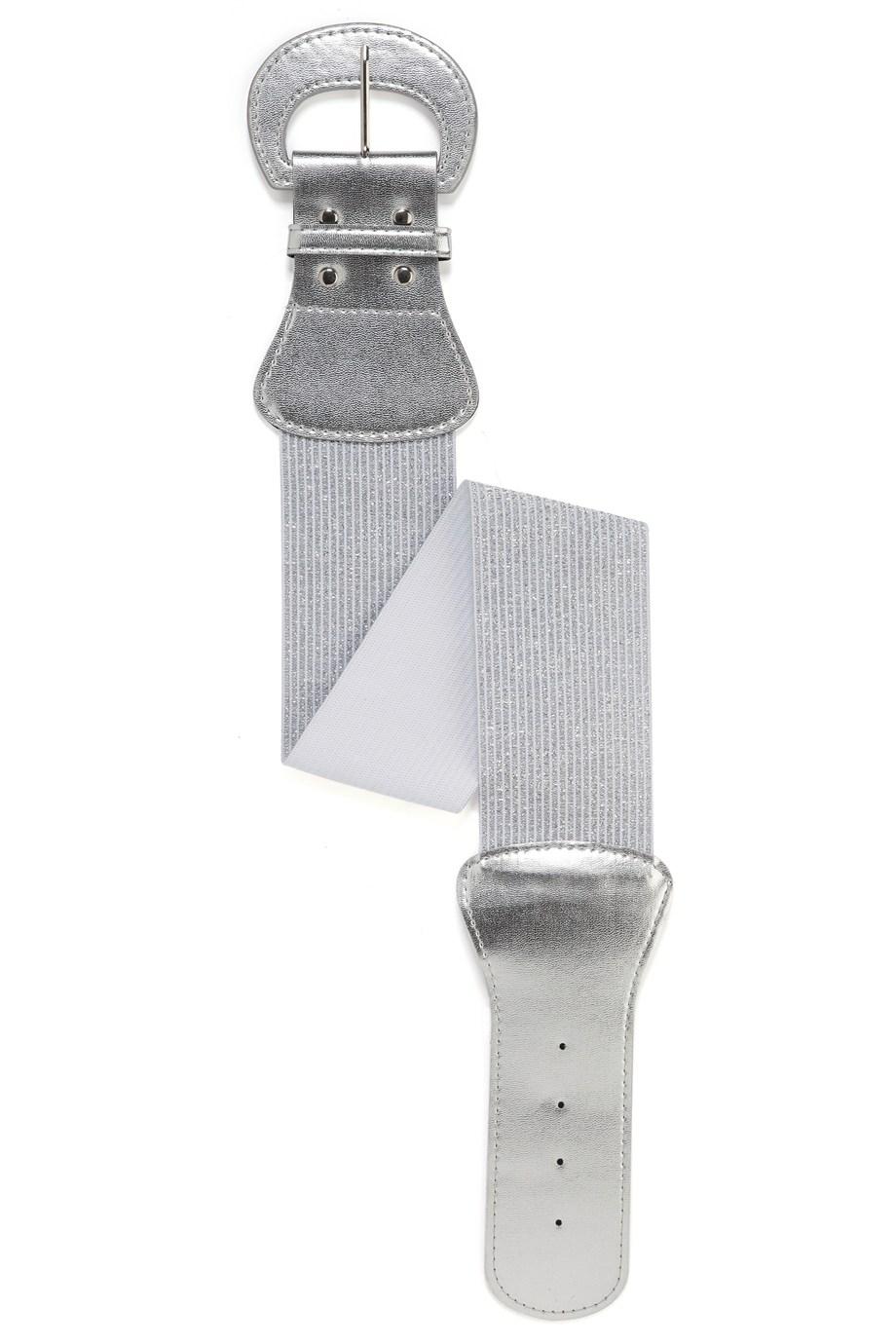 Brede zilveren riem met grote gesp