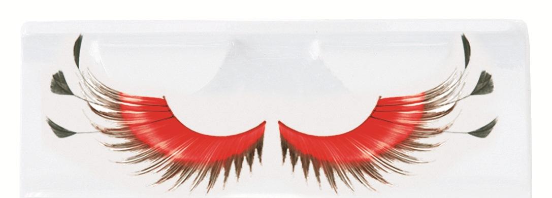 Wimpers veren rood met zwart