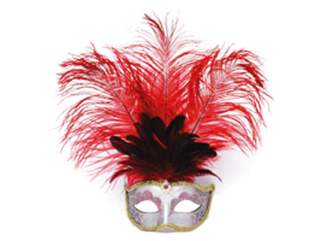 Venetiaans masker grote veer rood