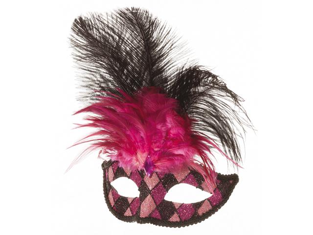 Venetiaans masker wyber en veren zwart/pink