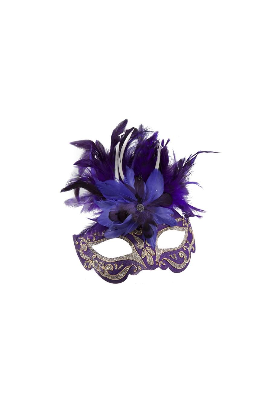 Venetiaans masker glitter&veren paars