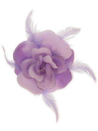 Bloem glitter met speld en elastiek lila