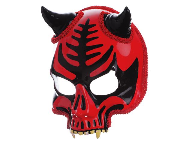 Doodskop masker op diadeem rood