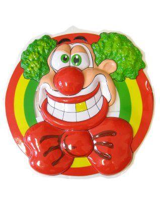 Wand decoratie clownshoofd lachend